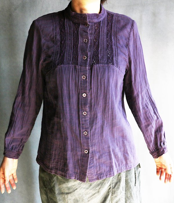 草木染ガーゼブラウス:紫