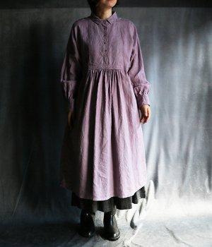 草木染5つボタンワンピース:薄紫