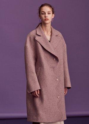 purple curved coat