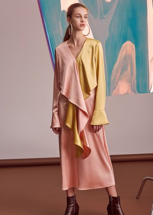pink draping dress