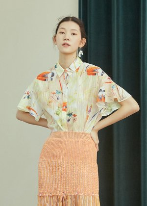 orange orchid blouse