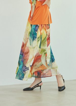twisted rainbow wrap skirt