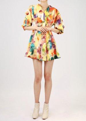 mix rainbow mini dress