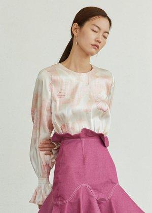 peach shell shirring blouse