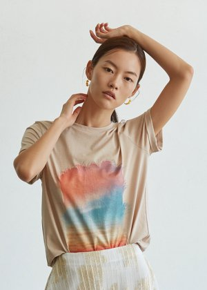 beige sunset t-shirts