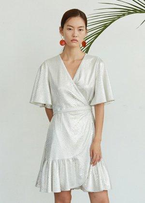 silver wrap mini dress
