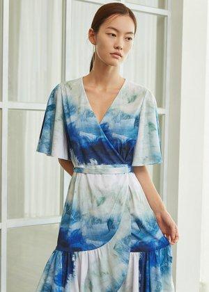 blue wrap mini dress