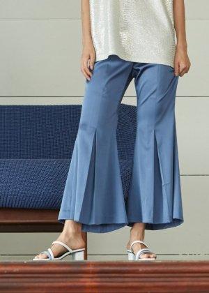 blue silky pants