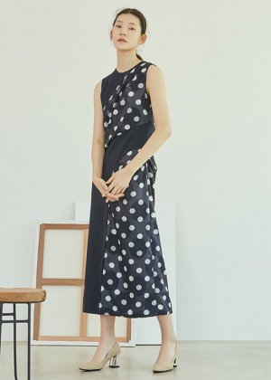 navy dot draped dress
