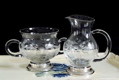 純銀ベース グラスクリーマー&シュガーボウル