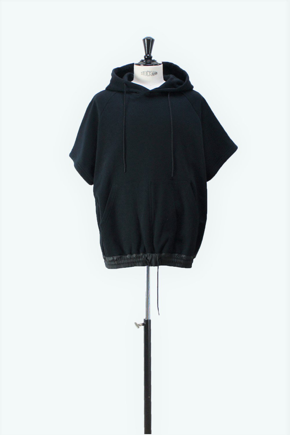 HOODIE HARF SLEEVES SWEAT BLACK