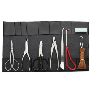 ステンレス小品盆栽8点セット/Stainless steel small bonsai tool set 8pcs.