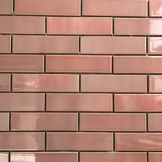 オリジナルタイル通販のタイルメイド 欧米風ふんわりタイル ピンク 二丁掛(ケース)