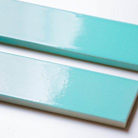 オリジナルタイル通販のタイルメイド エッジが効いた個性派タイル ターコイズブルー 二丁掛(ケース)