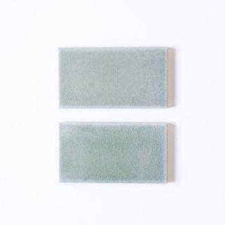 光と溶け合うクラックタイル 薄青緑 小口(ケース)