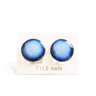 青むらタイルイヤリング(直径20mm)