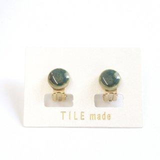 緑むらタイルイヤリング(直径10mm)