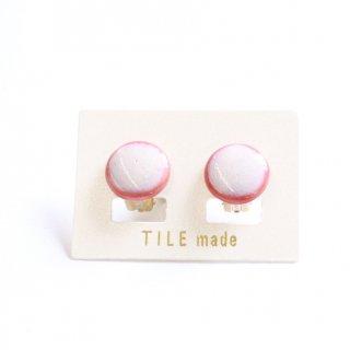 ピンクむらタイルイヤリング(直径15mm)