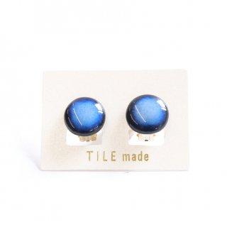 青むらタイルイヤリング(直径15mm)