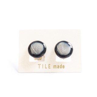白むらタイルイヤリング(直径15mm)
