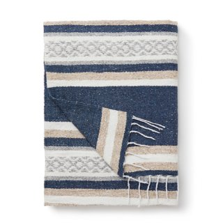 "Tlaxcala Mexican Blanket ""Slate and Sand"""