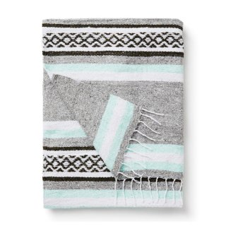 "Tlaxcala Mexican Blanket ""Mint and Green"""
