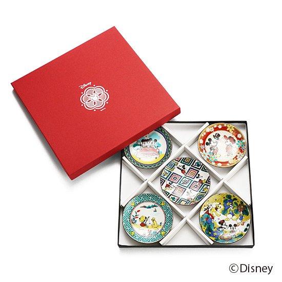 ミッキーマウス / 小皿5点セット九谷画風