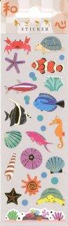 和ごころ夏柄ステッカー 和紙+金箔入り 貝と海の生き物