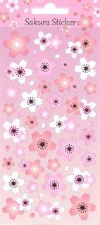 桜ミニステッカー 和紙にピンクの箔入り さくら白とピンク