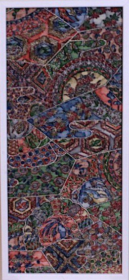 古布着物「鳥と花」ファブリックプレート(フレームセット)