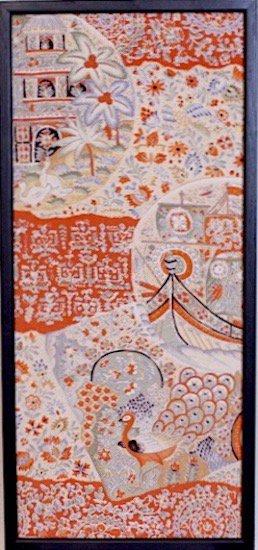 古布着物「孔雀」ファブリックプレート(フレームセット)
