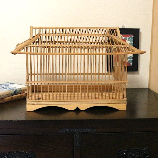 手作り竹製鳥籠(家型鳥籠)