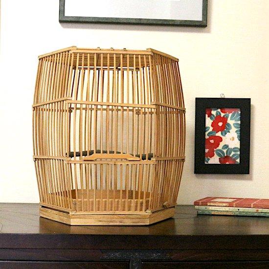 手作り竹製鳥籠(六角型鳥籠)