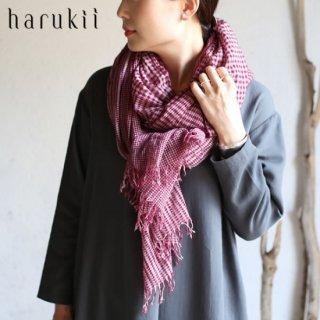 harukii カシミヤコットン変りギンガムストール L ワイン 【送料無料】