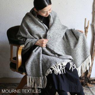 Mourne Textiles モーン テキスタイル Tweed Emphasize Wide Scarf  ツィードワイドスカーフ  / Monochrome I-Purled Fringe