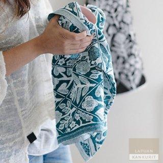 【1点のみゆうパケット可】LAPUAN KANKURIT ラプアン・カンクリ KUKAT Towel (W48×H70) white-petroleum / タオル ブルーグリーン ペトロリウム