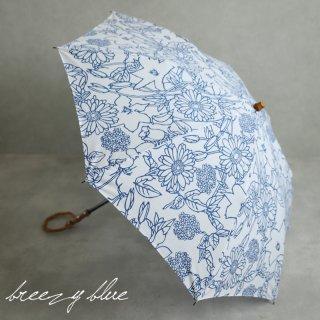 breezy blue ブリージーブルー 晴雨兼用 UV加工 注染 折りたたみ日傘 ブルーフラワー