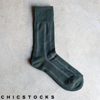 【2点までゆうパケット可】CHICSTOCKS シックストックス CH-004 <DOTTED LINE> Dark Green / ソックス 靴下