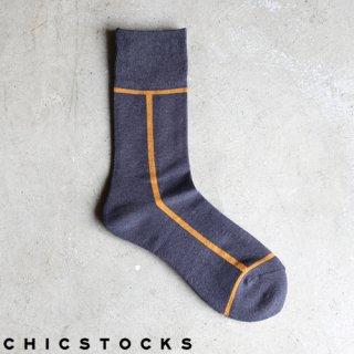 【2点までゆうパケット可】CHICSTOCKS シックストックス CH-002 <LINE> Dark Gray×Mustard / ソックス 靴下
