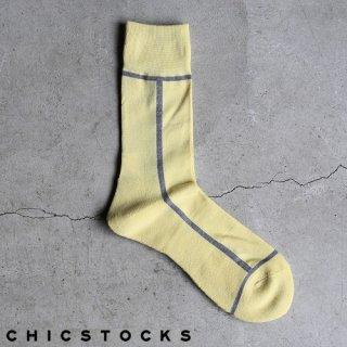 【2点までゆうパケット可】CHICSTOCKS シックストックス CH-002 <LINE> Cone×Light Gray / ソックス 靴下