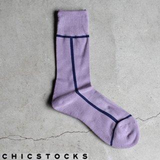【2点までゆうパケット可】CHICSTOCKS シックストックス CH-002 <LINE> Light Purple×Navy Blue / ソックス 靴下