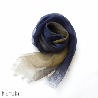 harukii ハルキ ぼかし染ラミー薄羽(うすば)ストール S 深縹(ふかきはなだ)