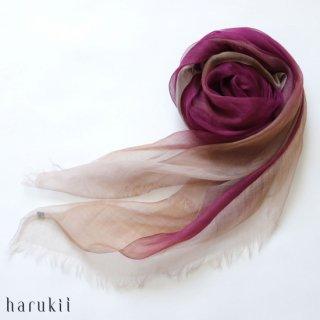 harukii ハルキ ぼかし染ラミー薄羽(うすば)ストール L 華紫(はなむらさき)