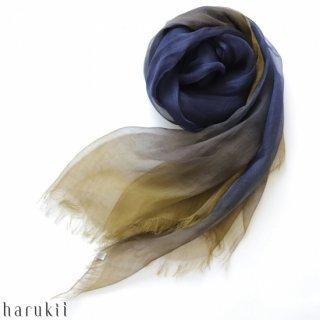 harukii ハルキ ぼかし染ラミー薄羽(うすば)ストール L 深縹(ふかきはなだ)