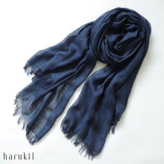 harukii ハルキ うかしガーゼストール L ネイビーブルー Navy Blue