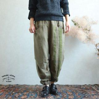 tamaki niime(タマキ ニイメ) 玉木新雌 きぶんシリーズ 9月 nica pants HOSO khaki cotton 100%  厚地ベーシック ニカパンツ ホソ