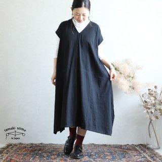 【再入荷】tamaki niime(タマキ ニイメ) 玉木新雌 きぶんシリーズ 9月 fuwa-T LONG V black cotton 100%  厚地ベーシック フワT ロング コットン100%
