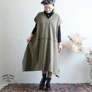 tamaki niime(タマキ ニイメ) 玉木新雌 きぶんシリーズ 9月 fuwa-T LONG V khaki cotton 100%  厚地ベーシック フワT ロング Vネック コットン100%