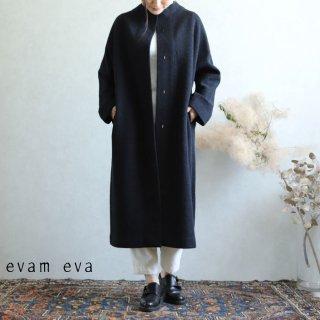 evam eva(エヴァム エヴァ)  プレスウールロングコート チャコール / press wool long coat charcoal E193K044