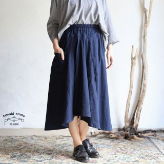tamaki niime(タマキ ニイメ) 玉木新雌  basic wear chotan skirt navy cotton 100% / チョタンスカート ネイビー コットン100%